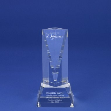 Crystal Sculpture Trophy - Triangle