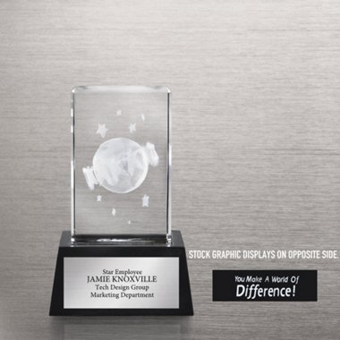 3-D Crystal Trophy - You Make a World of Difference