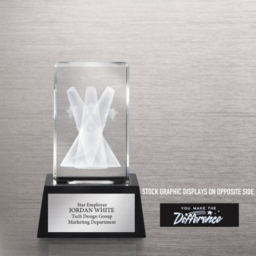 You Make the Difference 3-D Crystal Trophy