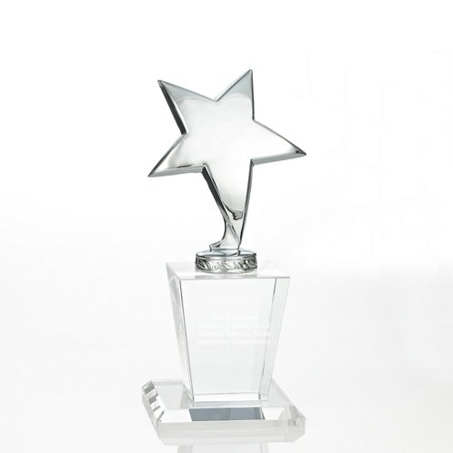 Silver Star Shining Star Trophy with Crystal Base