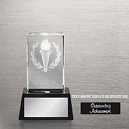 3-D Crystal Trophy - Torch: Outstanding Achievement