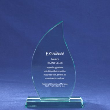 Premium Jade Glass Trophy - Flame - Large