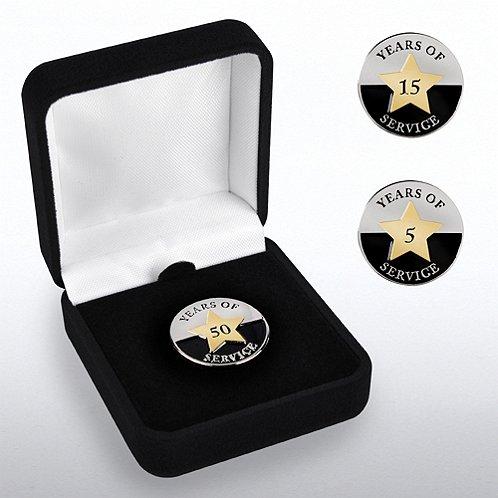 Years of Service Circle Star Anniversary Lapel Pin
