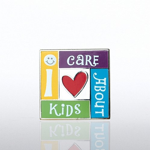 I Care About Kids Lapel Pin