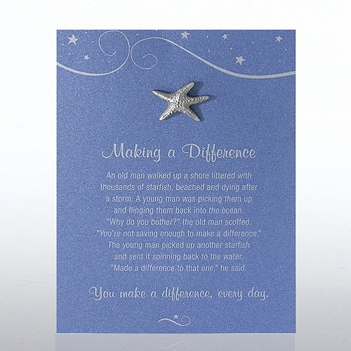 Starfish: Making a Difference Character Pin on Blue Card