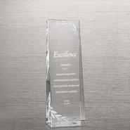 Etched Crystalline Tower Trophy -  Silver Laurels