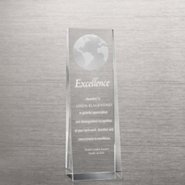 Etched Crystalline Tower Trophy -  3D Globe