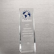 Etched Crystalline Tower Trophy -  Blue Star Globe