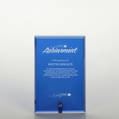 Mini Glass Award Plaque - Blue