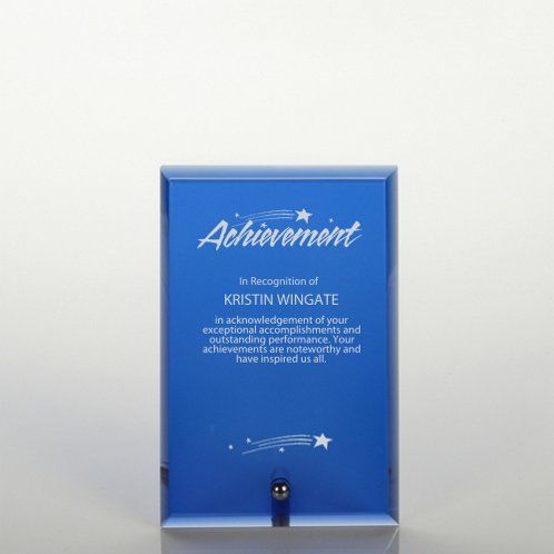 Blue Mini Glass Award Plaque