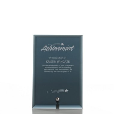 Mini Glass Award Plaque - Black