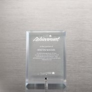 Mini Glass Award Plaque - Clear