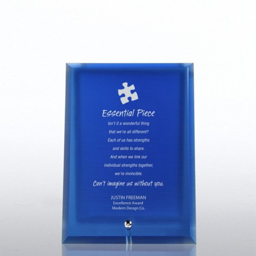Blue Glass Award Character Plaque