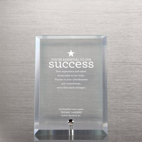 Clear Glass Award Character Plaque
