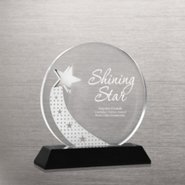 Elite Black Accent Crystal Trophy - Silver Star