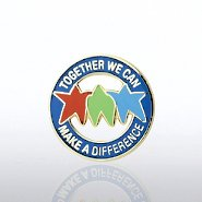 Lapel Pin - Together We Can Make a Difference - Stars Round
