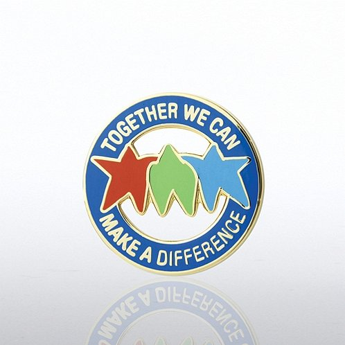 Together We Can Make a Difference - Stars Round Lapel Pin