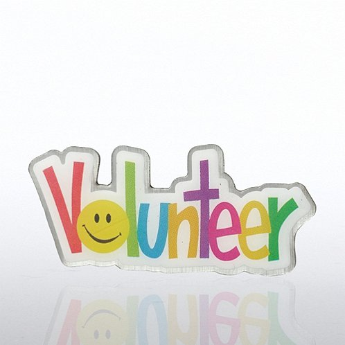 Volunteer Smiley Face Lapel Pin