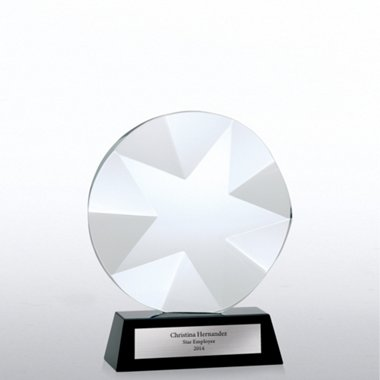 Elite Black Accent Crystal Trophy - Beveled Star
