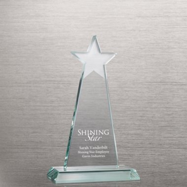 Etched Jade Star Trophy - Tower