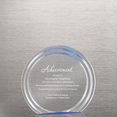 Blue Accent Round Acrylic Trophy