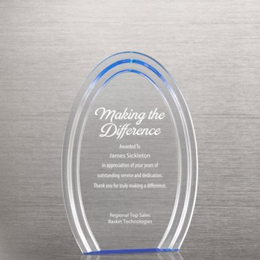 Blue Accent Acrylic Trophy - Oval