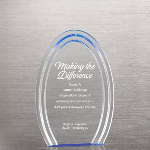 Blue Accent Oval Acrylic Trophy