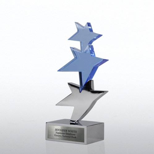 Trio of Stars Sculpture Crystal Trophy