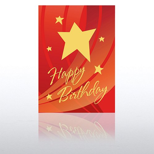 Red Swoosh & Star Happy Birthday Greeting Card
