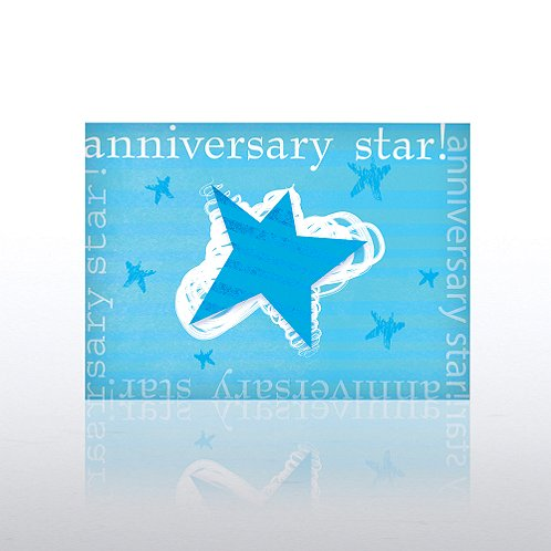 Blue Solo Star Anniversary Greeting Card