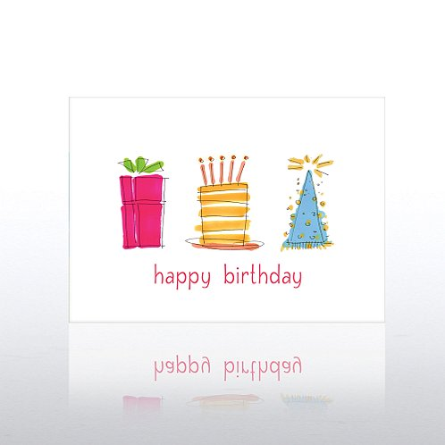 Birthday Gift, Cake & Hat Greeting Card