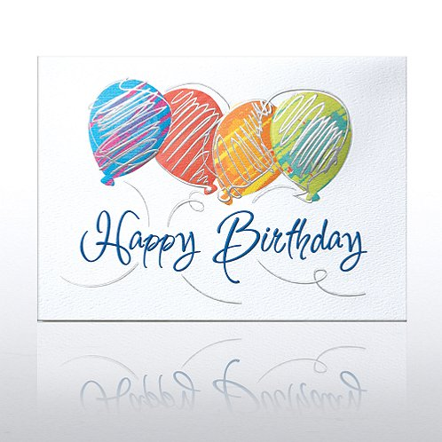 Colorful Silver Drizzle Balloons Greeting Card