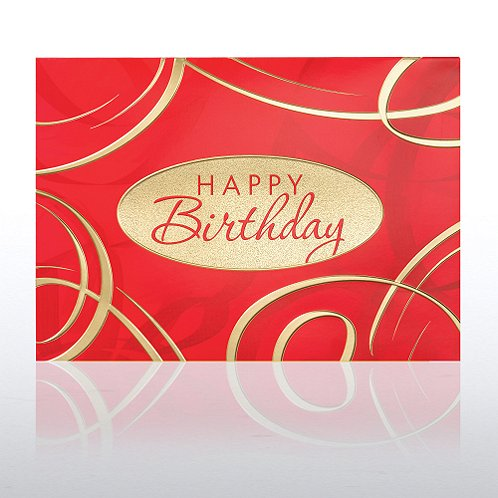 Birthday Red & Gold Swirls Greeting Card