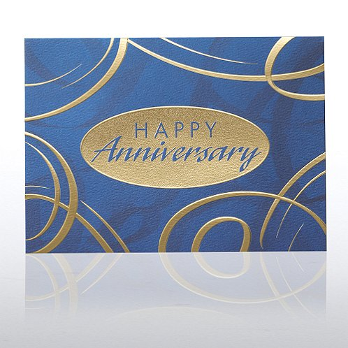 Blue & Gold Swirls Anniversary Greeting Card