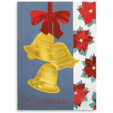 Holiday Greeting Card - Three Golden Bells and Poinsettia