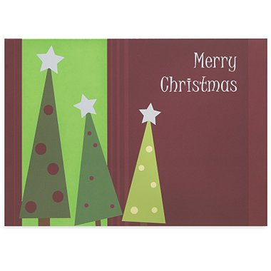 Holiday Greeting Card - Merry Christmas Three Trees