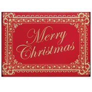 Holiday Greeting Card - Merry Christmas Red and Gold Floral