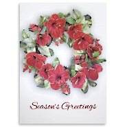Holiday Greeting Card - Floral Wreath with Foil Accents