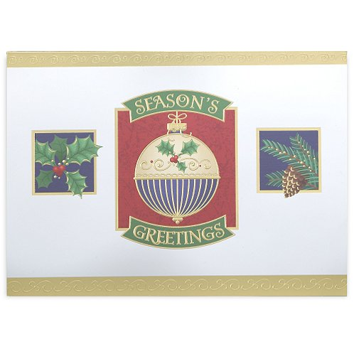 Ornament and Holiday Greens Holiday Card