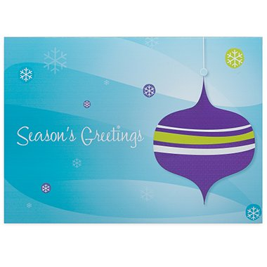 Holiday Greeting Card - Season's Greetings Retro Ornament