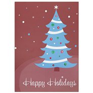 Holiday Greeting Card - Happy Holidays Contemporary Tree