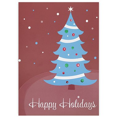 Holiday Greeting Card - Happy Holidays Contemporary Tree