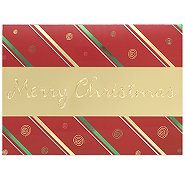 Holiday Greeting Card - Merry Christmas Gold Banner