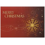 Holiday Greeting Card - Red and Gold Snowflake