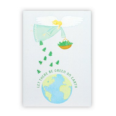 Holiday Greeting Card - Let There be Green on Earth Angel