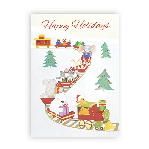 Holiday Animals Train Holiday Card