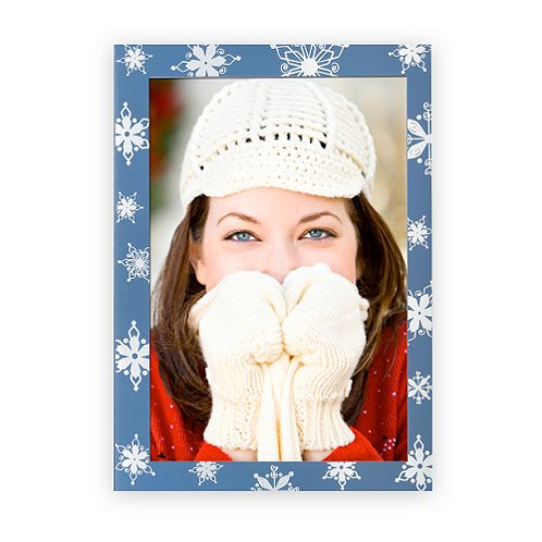 Photo Frame Silver Foil Snowflakes Holiday Card