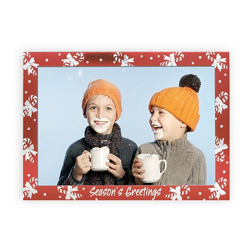 Photo Frame Card Candy Canes Holiday Card