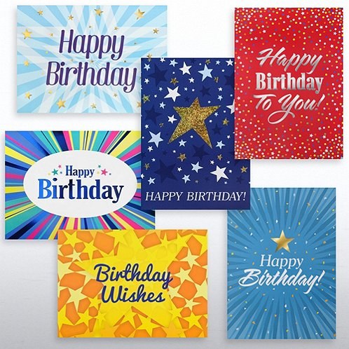 Stars Assortment Happy Birthday Greeting Card