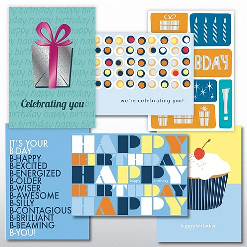 Contemporary Birthday Greeting Card Assortment